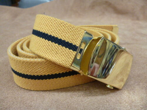 Adults Boys Mens Ladies mustard striped 35mm Elasticated Belt Gilt buckle w5
