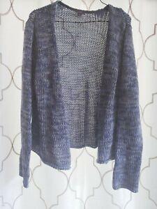 J-Jill-Large-Open-Front-Cardigan-Blue-Crochet-Knit-Long-Sleeve-100-Cotton-Top