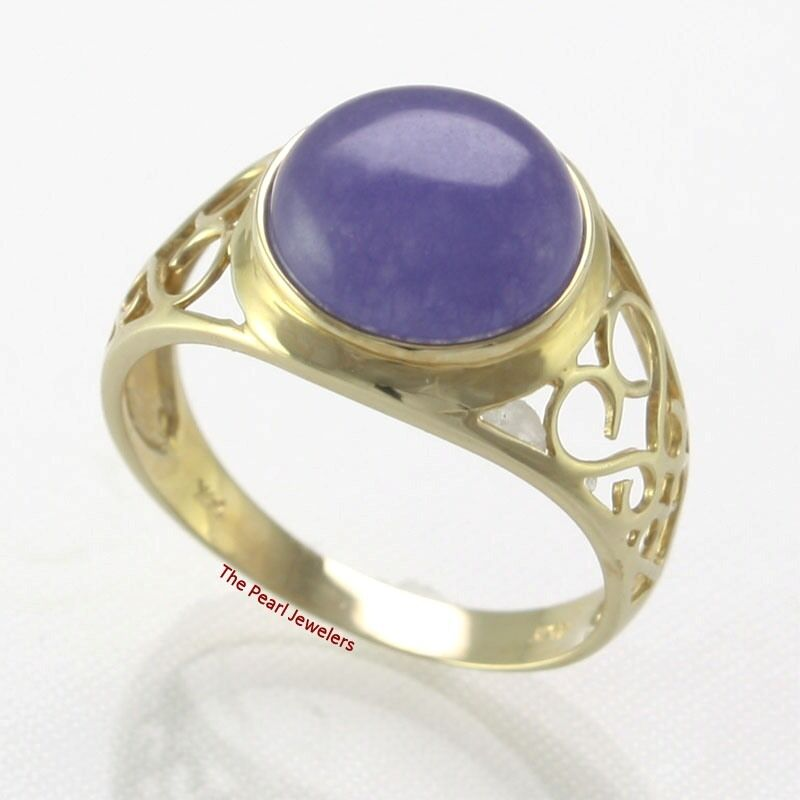 14k Solid Yellow gold 10mm Dome Shaped Lavender Jade Solitaire Ring TPJ