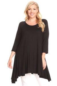 New-Women-039-s-Plus-Size-3-4-Sleeve-Black-Scoop-Neck-Tunic-Top-Sizes-1X-2X-3X-4X