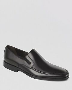 $970 BRUNO MAGLI ITALY Men BLACK LEATHER SLIP ONS LOAFERS DRESS SHOES SIZE 7