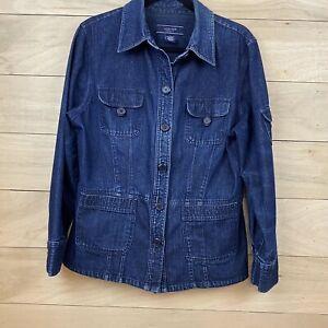 JONES-WEAR-Sport-Women-s-Dressy-Casual-Blue-Denim-Jean-Jacket-Button-Front-Sz-L