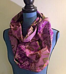 Full-Circle-Batik-Infinity-Scarf-Handmade-Purple-amp-Green-66-034