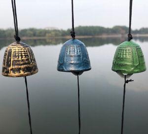 Japanese-1-5-034-D-Furin-Wind-chimes-Green-Temple-Bell-Nambu-Cast-Iron-Made-Japan