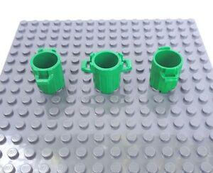 Lego - 3 Dustbin / Trash Can 92926 (no Lids) - Green. City. A39
