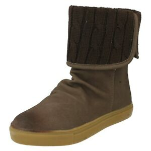 SALE LADIES DOWN TO EARTH KNITTED FOLD OVER FLAT PULL ON ANKLE BOOTS F50022 SIZE