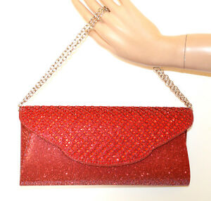 Pochette Elegante Bag Mujer Strass G56 Clutch Cristales Bolsa Bolso Rojo Red RwUq1ZxUp