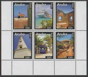 ARUBA-2015-NVPH-848-853-TOERISME-1W-VUURTOREN-SCHIP-TRAM-serie-postfris
