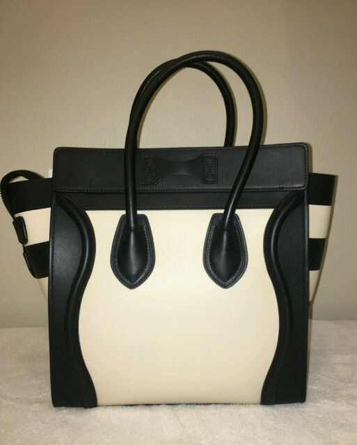 4a5c594998db Celine Phantom Handbag Purse Tote Black   Ivory Leather Special Edtn ...