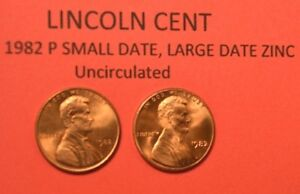 1982-P-Small-Date-amp-Large-Date-Zinc-Lincoln-Memorial-Cent-Penny-Uncirculated-01