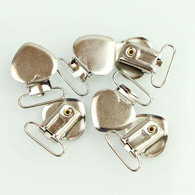 10 Pcs Heart Metal Suspender Clips Braces Clips Belt Dummy Clips Pacifier Clips