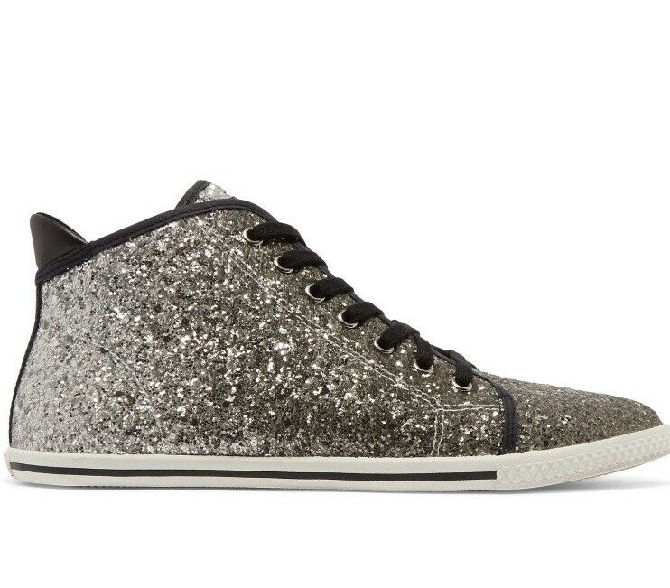 Marc By Marc Jacobs Silver Glitter High Top Sneakers Size 4   Eur 37 - Rrp