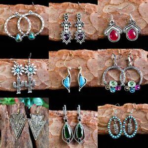 Retro-925-Silver-Dangle-Drop-Earrings-Ear-Hook-Moonstone-Women-Fashion-Jewelry