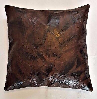 Cuscino In Pelle Copre X 2, 100% Nuovo Di Zecca In Pelle Vera, Fatta A Mano 38 X 38 Cm-mostra Il Titolo Originale Forma Elegante