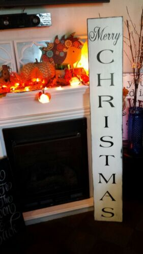 Merry Christmas Porch Sign Rustic Primitive Distressed Black White Christmas