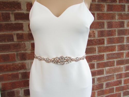 Rose Gold Silver Diamante Pearl Bridal Wedding Dress Belt 5645 Plus Size 20 22