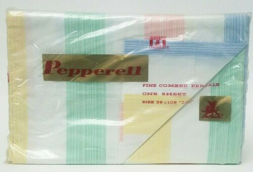 """Vintage Pepperell Fine Combed Percale Full Flat Sheet 72/"""" x 108/"""" Multi-color"""