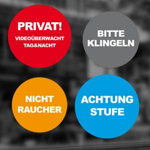 """Möbel & Wohnen Aufkleber Bedruckt """"rund 2-farbig"""" Text Nach Wunsch Folie Hinweis Sticker #d110"""