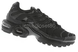 570e0104f29 Nike Air Max Plus GS Tn Triple Black Juniors Boys Girls Trainers ...