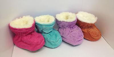 Bebé Niños Niñas Piel De Pana entrenador Botines Interior Zapatos Zapatillas Calcetines tamaño de Reino Unido