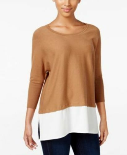 Sweater Size 0X Plus Style/&Co $58 NWT Camel Salty Nut Layered Look Tunic MC123