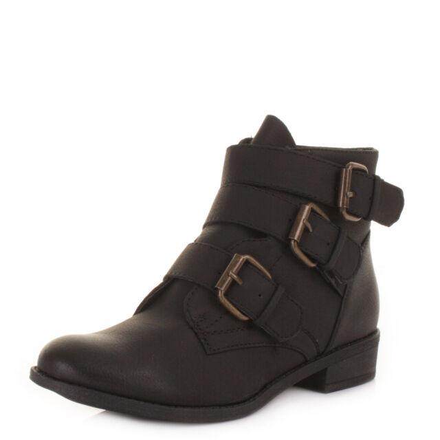 Womens Black Leather Style Triple Buckle Low Heel Ankle Boots Ladies Size 3-8