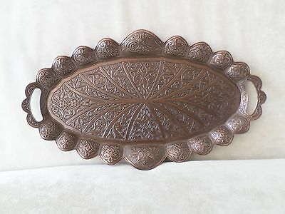 Authentic Turkish Coffee Tea Zamak  Serving Tray Copper Handmade Ottoman Motif