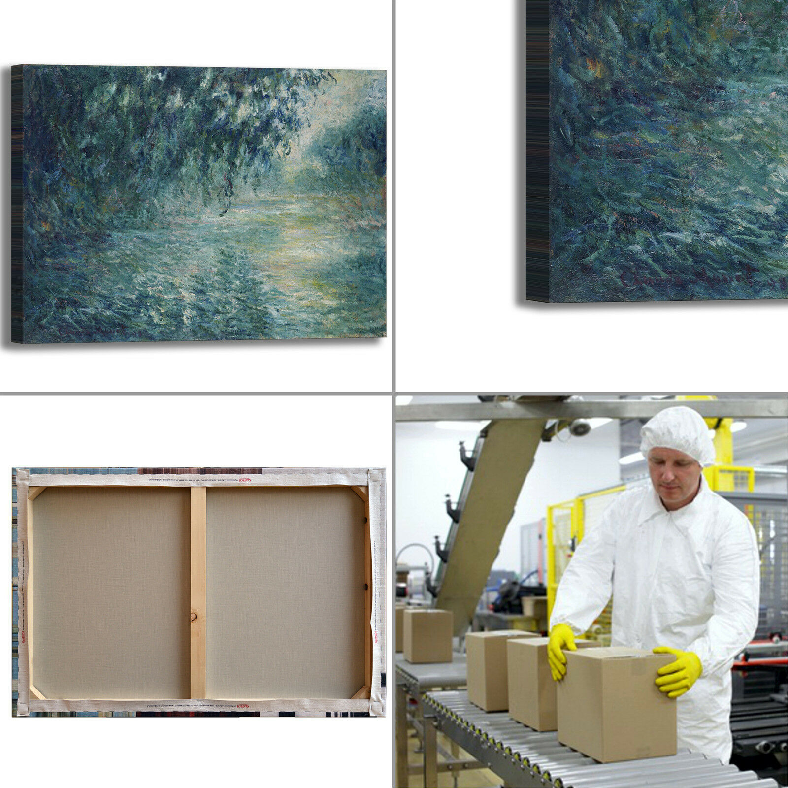 Monet mattina sulla Senna Senna Senna design quadro stampa tela dipinto telaio arrossoo casa 183251