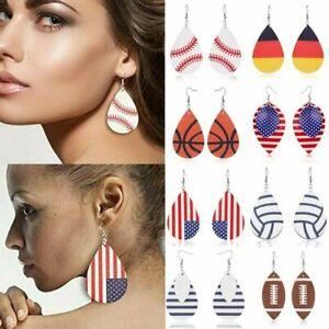 Women USA Flag Teardrop Leather Earrings Ear Stud Hook Drop Dangle Jewelry Party