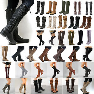 Womens-Knee-High-Lace-Up-Buckle-Winter-Mid-Calf-Boots-Leather-Riding-Flat-Shoes