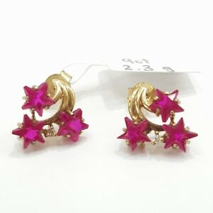 9ct-9K-Yellow-Gold-Stud-Earrings-Synthetic-Ruby-2-3-Grams-Brand-New-Instore