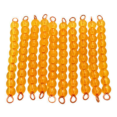 Montessori 10pcs of Ten Beads Bars Kids Decimal System Learning Maths Toy