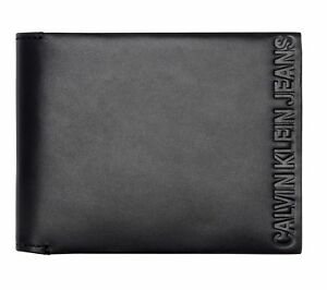 Calvin-Klein-Logo-Pop-Billfold-with-Coin-Geldboerse-Black-Schwarz-Neu