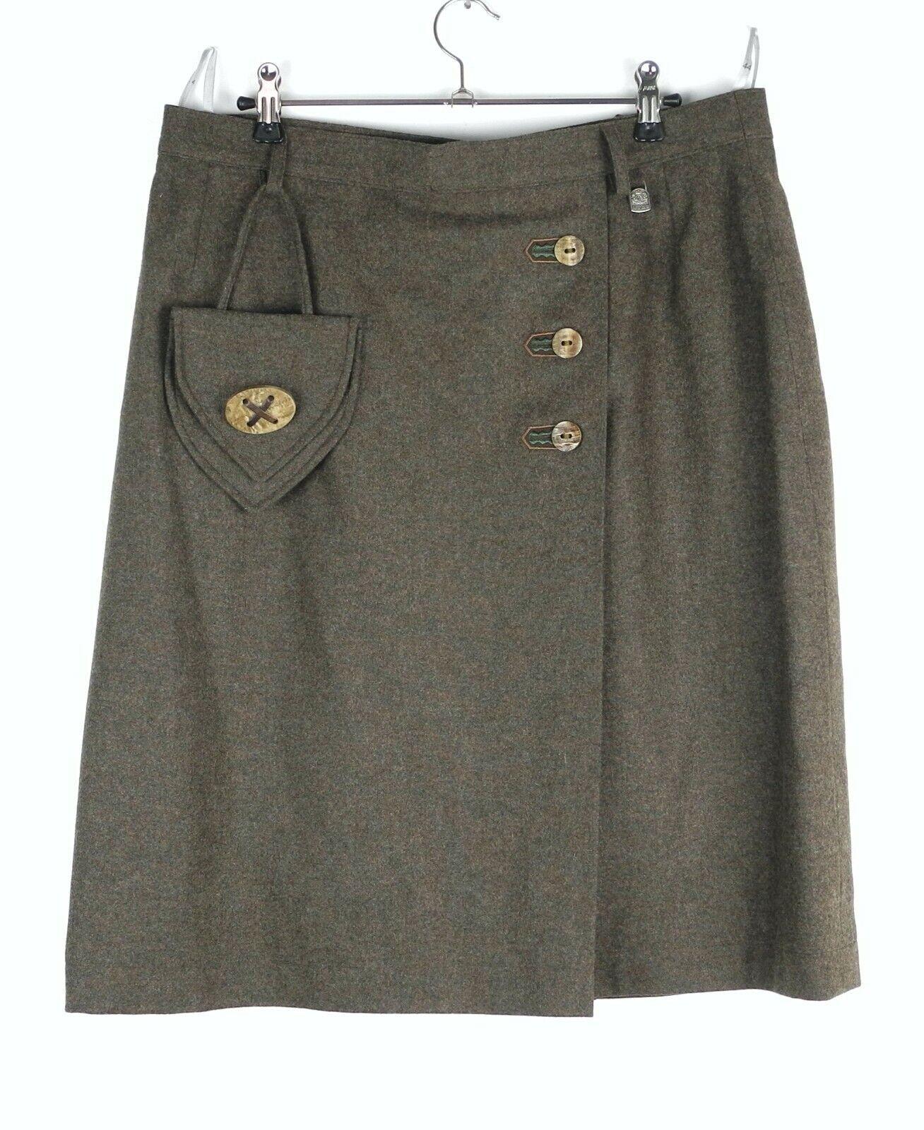 Hammerschmid Trachten Skirt Womens D 44 Brown Virgin Wool Like New