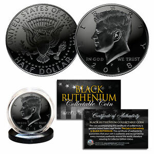 2018-BLACK-RUTHENIUM-JFK-Kennedy-Half-Dollar-U-S-Coin-w-COA-Philadelphia-Mint