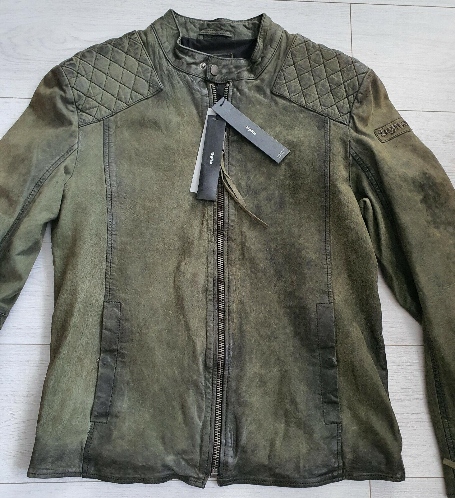 Tigha señores Biker chaqueta de cuero Nero Olive Sheep Leather size M