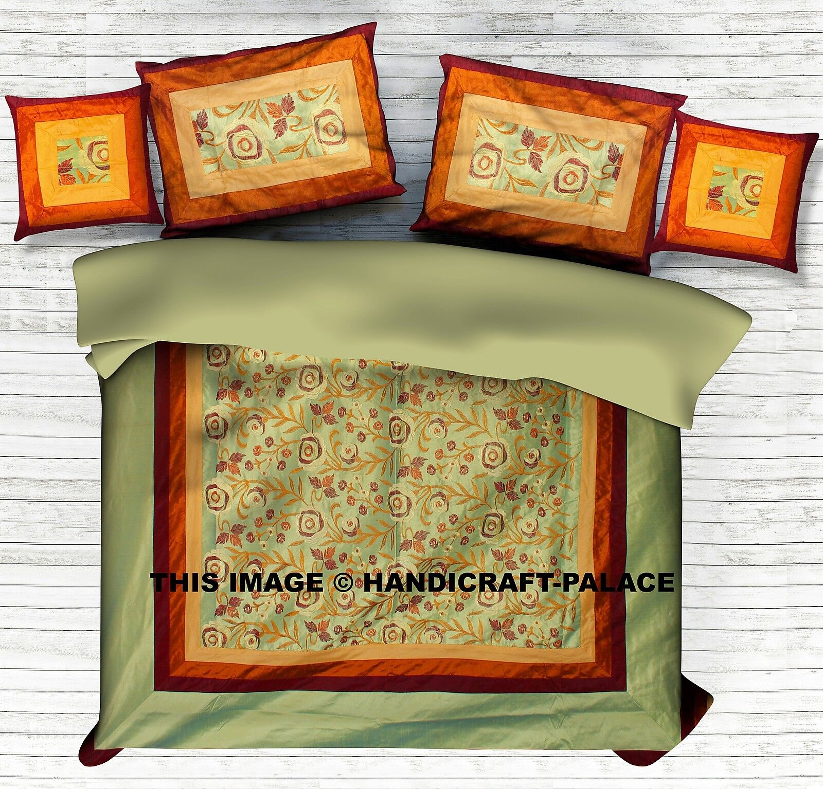 INDIAN BROCADE SILK PATCHWORK PATCHWORK PATCHWORK BED COVER DOUBLE 5 PCS HOME DECOR BEDDING SET 2ca494