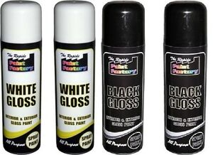 Set of 2 spray paint high gloss 250 ml all purpose interior exterior auto wall ebay - Wickes exterior gloss paint set ...
