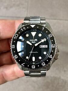 Seiko 5 Sports SRPD Automatic Divers Watch mod Sapphire Crystal, ceramic bezel.