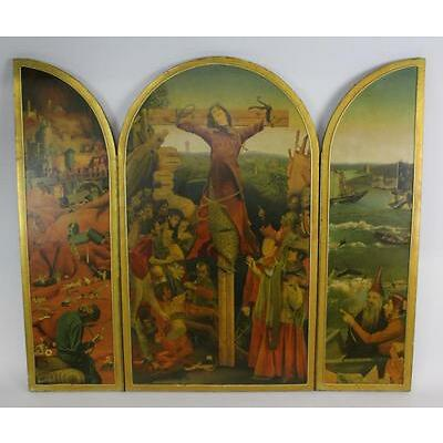 1. Signed JACQUES BRISSOT France Mixed Media St Liberata Triptych Painting Lot 1