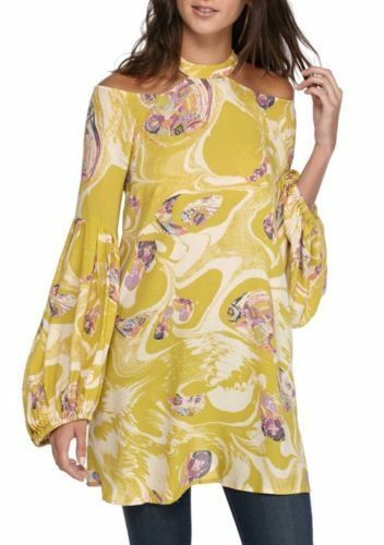 NWT Free People Drift Away Cold Shoulder Tunic OB667897 Chartreuse Größe S