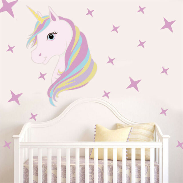 Beautiful Unicorn Horse Stars Wall Decals For Kids Girls Room Diy  Home Decor DS