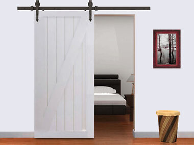 6-Foot Barn Wood Sliding Door Set