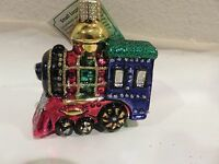Small Train Old World Christmas Glass Ornament