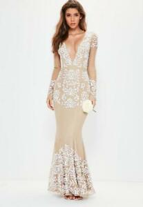 c01df60742c8 Image is loading MISSGUIDED-bridal-nude-long-sleeve-plunge-embellished-maxi-