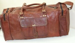 Genuine-Goat-leather-Vintage-rustic-brown-20cms-Travel-Bag
