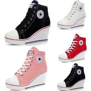 Women-Fashion-Canvas-Platform-Wedge-High-Top-Heel-Lace-Up-Zip-Sneakers-Shoes