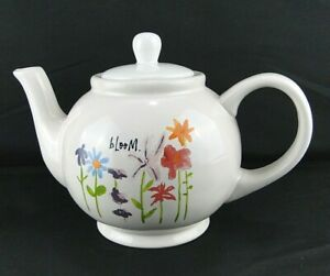 Rae Dunn Bloom Flowers Teapot with Lid by Magenta Floral Free Shipping