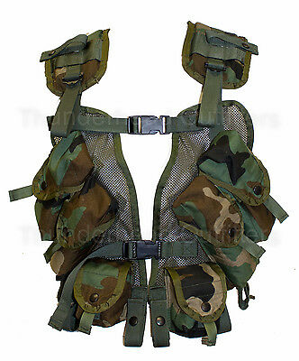 USGI Military 40-MM Grenade Carrier Load Bearing Vest LBV Woodland Camo EXC
