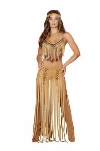 Roma 3pc Native American Indian Cherokee Hottie Brown Long Fringe Costume 4480